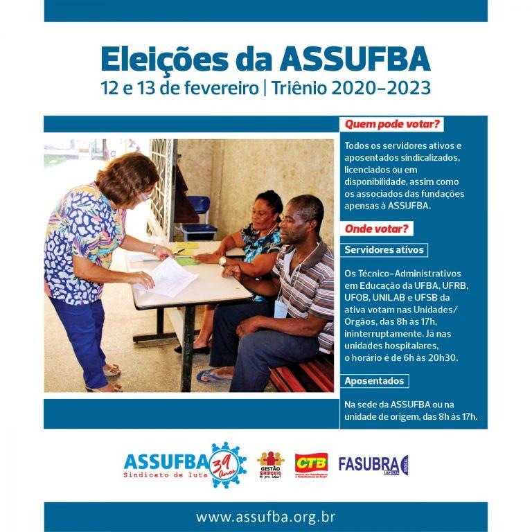 Atenção, associado! Eleições da ASSUFBA acontecem nesta quarta e quinta-feira. Participe!