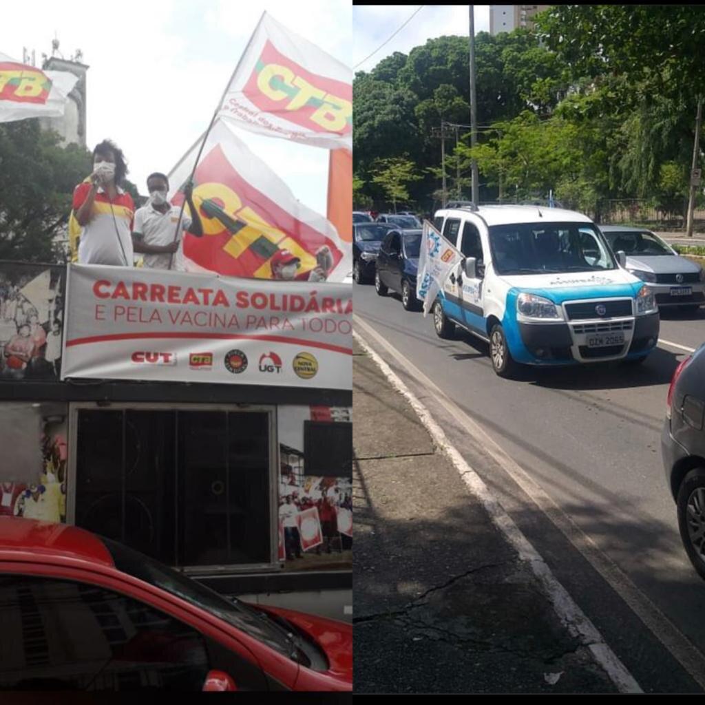 Carreata solidária protesta por vacina e fora Bolsonaro