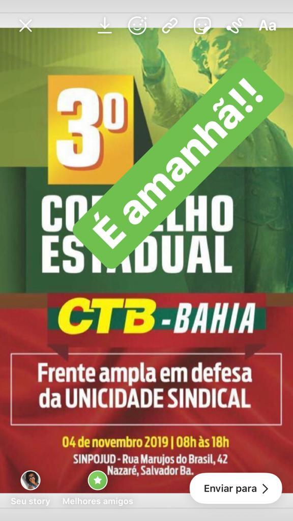 3º Conselho Estadual da CTB-Bahia acontece nessa segunda-feira