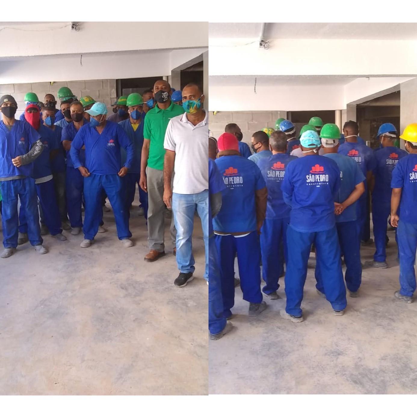 Trabalhadores paralisaram atividades em obra de  estacionamento do Centro Médico Cárdio Pulmonar