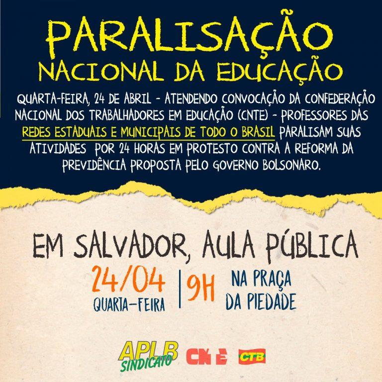 Dia 24 tem paralisação nacional dos professores estaduais e municipais