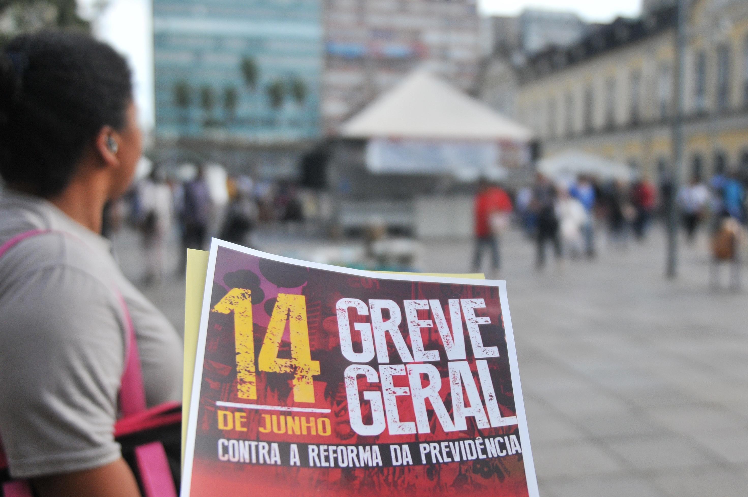 Comerciários de Salvador na greve geral, em defesa da aposentadoria