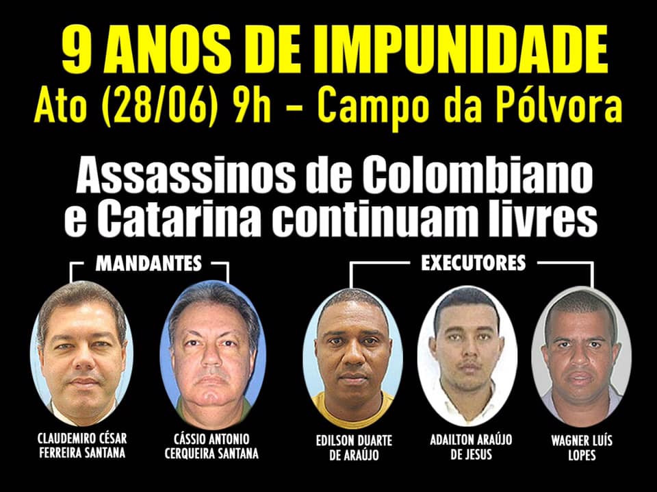 CTB Bahia convoca para ato em memória de Colombiano e Catarina